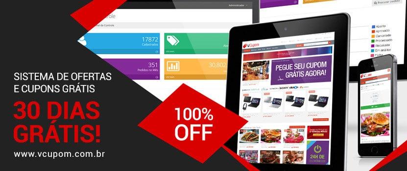 Adquira agora o VCupom com 30 Dias Grátis e tenha seu site de Compra Coletiva, Ofertas ou Cupons agora mesmo! Clique e aproveite!